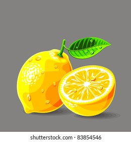 Vector fresh lemons with water drops. Vector illustration.