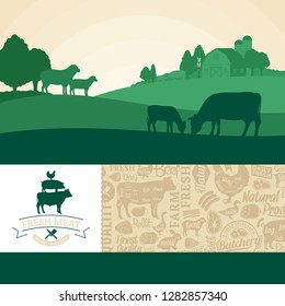 Vector fresh meat illustration with rural landscape and farm animals. Modern style butchery label and meat icons pattern. Butcher's shop or farming design elements.