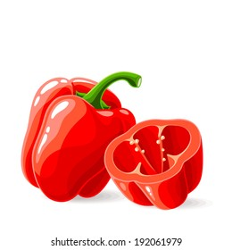 Vector fresh red bell peppers on white. Vector illustration.