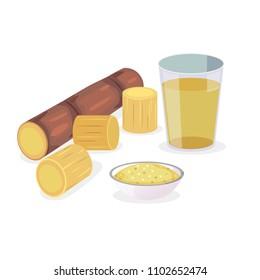 Vector of fresh sugarcane and sugarcane product.