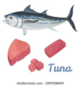 Vector fresh Tuna in flat style on white background. Slice, raw or sashimi tuna fish meat. Marine product concept. Graphic design element for restaurant menu, advertising poster, logo or flyer.
