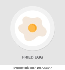 vector fried egg illustration - easter symbol, cooking healthy protein