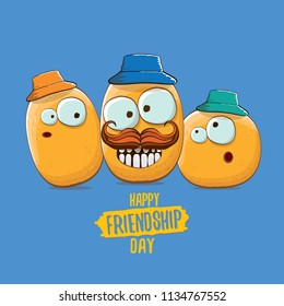vector friends tiny potato characters having fun isolated on blue background. Happy Friendship day vector illustration. funky kids potato with friends