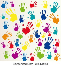 Vector friendship background, hand prints