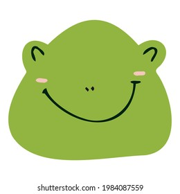 Vector frog face in bright colors for decorating children's rooms, patterns, postcards.
