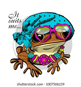 Vector frog with hat, glasses and necklace . Hand drawn illustration of dressed frog.
