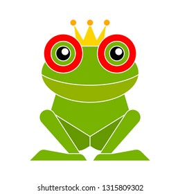 vector frog illustration. vector wildlife sign, funny frog isolated