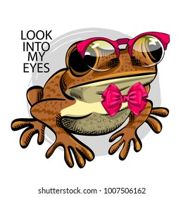 Vector frog with red glasses and bow. Hand drawn illustration of dressed frog.