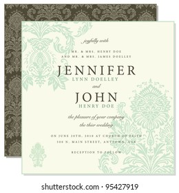 Vector Front and Back Damask Frame. Easy to edit. Perfect for invitations or announcements.
