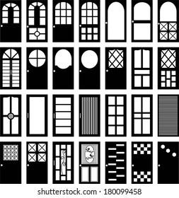 Vector front door ,bathroom door ,kitchen door and office door silhouettes, vector