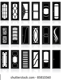 Vector front, interior, cabinet and office doors silhouettes, vector clip art of decor detail