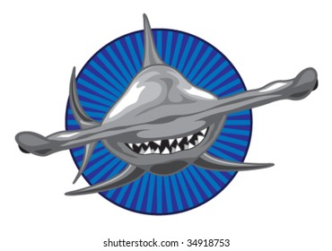 Vector - Front view of a Hammerhead Shark. Shark and background can be used separately.