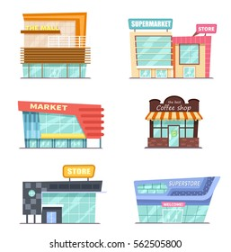 Vector front view  set of shop, mall, store and supermarket buildings in flat cartoon style  isolated on white