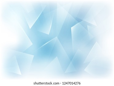 Vector Frosted Glass Blue and White Background. Frozen Window Illustration. Abstract 3d Bg for New Year Party Posters, Christmas Banners or Winter Advertisements.