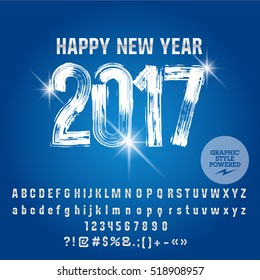 Vector frosty brush Happy New Year 2017 greeting card with set of letters, symbols and numbers. File contains graphic styles