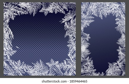 Vector frozen frost background texture. Glass snow ice cold and fresh background. Frozen window. Window frozen glass ice.