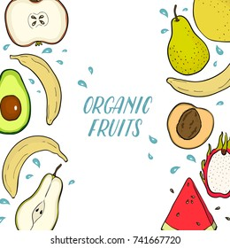 Vector fruit advertising organic fruits, leaflet, shop,poster, watermelon, pear, avocado, apple, lemon, banana, peach, mangosteen