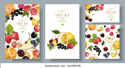 Vector fruit and berry banners set with seamless pattern. Design for juice, ice cream, natural cosmetics, sweets and pastries filled with fruit, dessert menu, health care products. With place for text