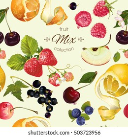 Vector fruit and berry seamless pattern. Background design for juice, tea, ice cream,natural cosmetics, sweets, pastries filled with fruit, dessert menu, health care products. Best for wrapping paper