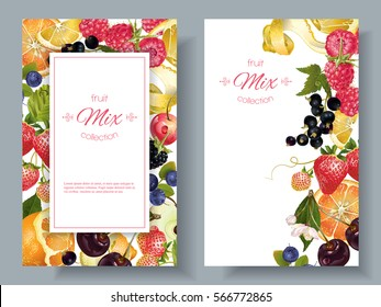 Vector fruit and berry vertical banners on white background. Design for natural cosmetics, sweets and pastries filled with fruit, dessert menu, health care products. With place for text