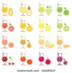 Vector Fruit Juice Icon Set