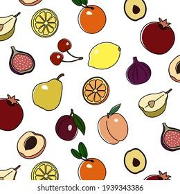 Vector fruit seamless pattern. Vector cherry pattern. Vector pear pattern. Seamless fruits pattern