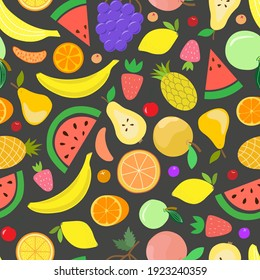 Vector fruit seamless pattern. Juicy watermelons, oranges, bananas, grapes, strawberries, pineapples, berries in style of carton, flat, hand draw. Delicious print for surface design, digital paper