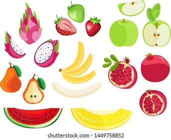 Vector fruit set for design. On a transparent background