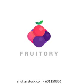 Vector Fruit Symbol. Abstract Logo of vitamins, a useful product, berries and fruits