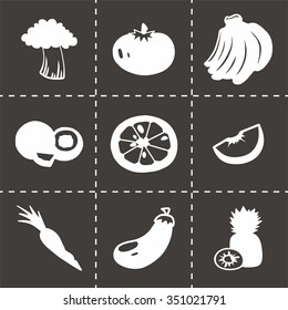 Vector Fruit and Vegetables icon set on black background