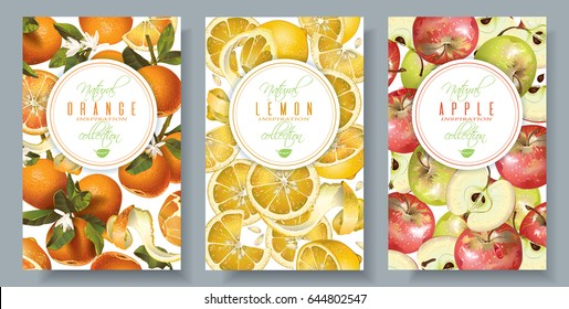 Vector fruit vertical banners set. Orange, lemon and apple design for sweets and pastries filled with fruit, dessert menu, perfume, natural cosmetics, body care products. With place for text