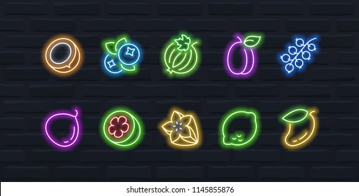 Vector fruits and berries icon set in outline neon style #3