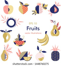 Vector fruits collection made in flat style - each one is isolated for easy use.Summer fruit set of peach,apple,grape,banana,pear,pineapple,papaya,mango,watermelon,figs,pomegranate.