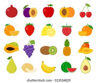 Vector fruits flat icons set isolated on white