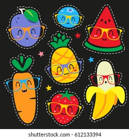 vector fruits in glasses cartoon style patch set