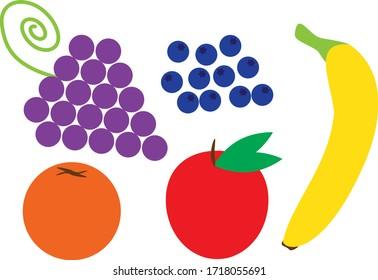 Vector Fruits on White Background. Grapes, Apple, Orange, Blueberries, Banana