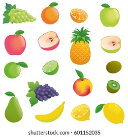 Vector fruits simple, many, sliced: apple, pinapple, banana, grape, kiwi, pear, peach etc.