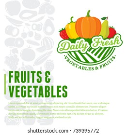 Vector fruits and vegetables illustration