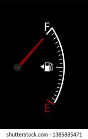 Vector of full car fuel vertical gauge