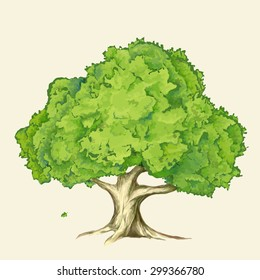 Vector full color illustration of the Tree and Oak Leaf is falling. Eps 10