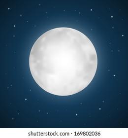 Vector Full Moon Illustration with Stars