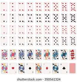 Vector Full Set of Playing Cards. 52 Cards