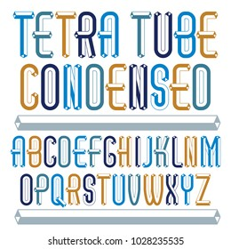 Vector fun capital English alphabet letters collection. Retro condensed font, script from a to z can be used in art  poster art. Made with industrial 3d tetra tube design.