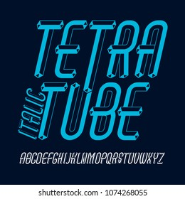 Vector fun capital English alphabet letters collection. Retro italic condensed font, script from a to z can be used in art  poster art. Created using dimensional tetra pipe.