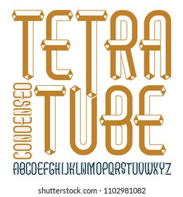 Vector fun capital English alphabet letters collection. Retro condensed font, script from a to z can be used in art  poster art. Created with carton tube style, trigonometry design.