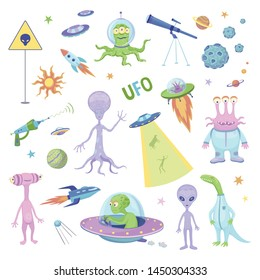 Vector fun collection of ufo and aliens. Cartoon characters and spaceships on a white background.
