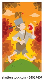 Vector - Fun illustration of Johnny Appleseed walking through the forest in the fall.