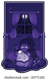 Vector - A fun and spooky illustration of a little boy reading a scary story in the dark. A real monster is creeping up behind him, outside his window!