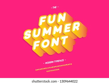 Vector fun summer font 3d bold slanted style modern typography for decoration, logo, poster, t shirt, book, card, sale banner, printing on fabric, industrial. Cool typeface. Trendy alphabet. 10 eps