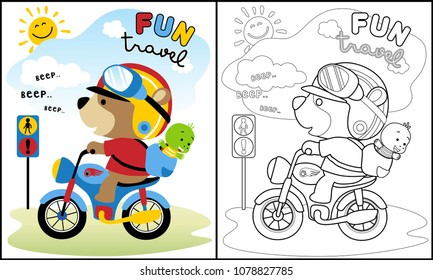 Vector of fun travel with cute animals on motorbike